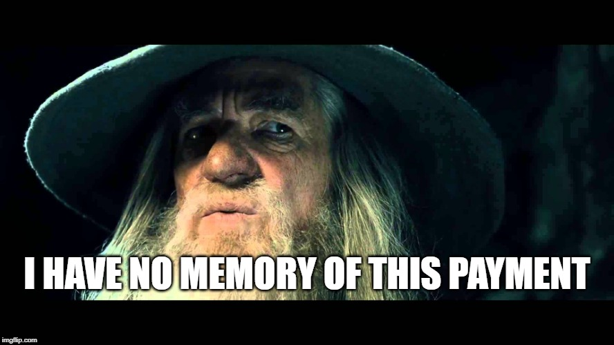 When you check your bank account after a major shopping spree... ;) | I HAVE NO MEMORY OF THIS PAYMENT | image tagged in gandalf no memory,money,shopping,online shopping,credit card,paycheck | made w/ Imgflip meme maker