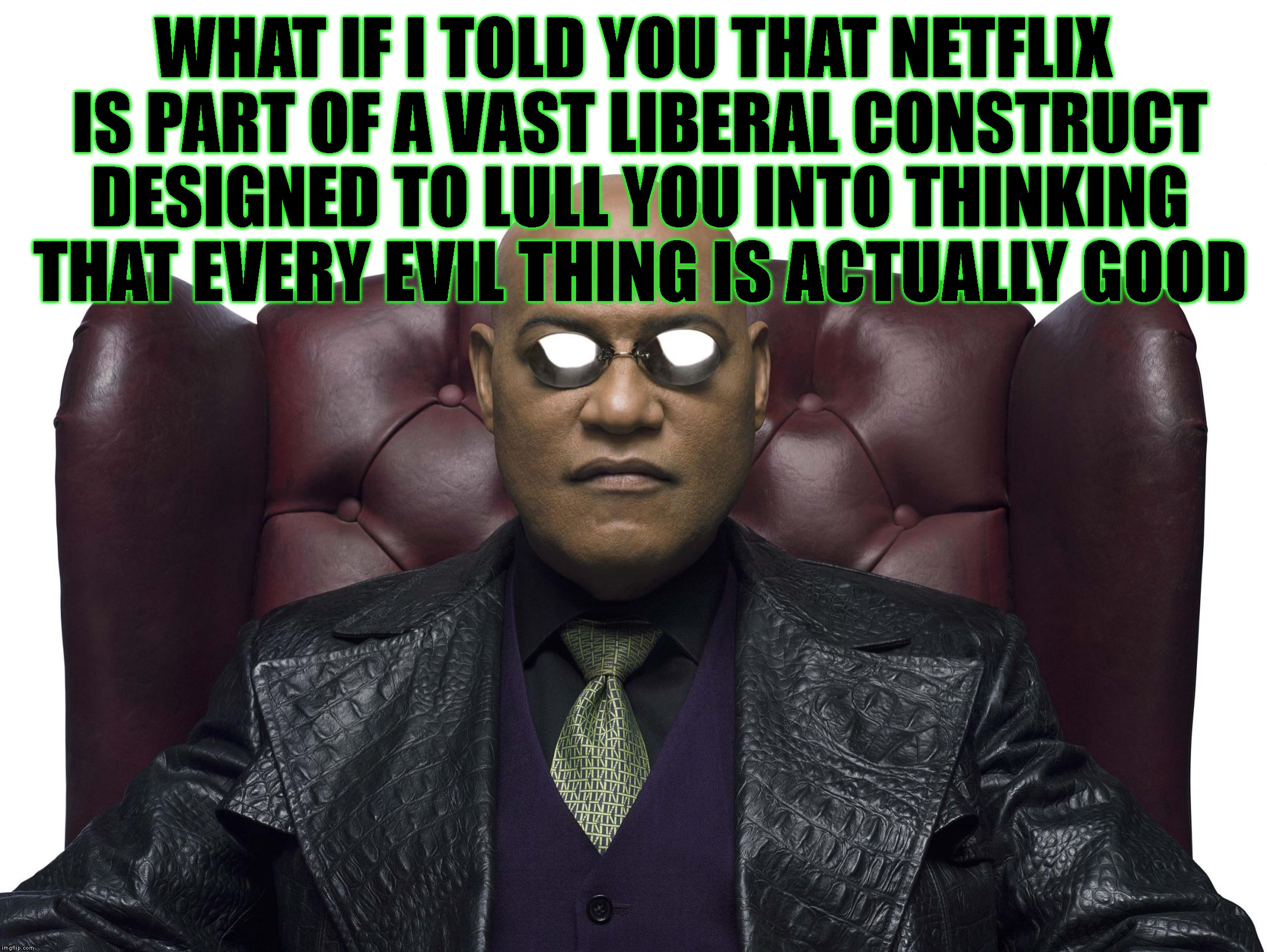 WHAT IF I TOLD YOU THAT NETFLIX IS PART OF A VAST LIBERAL CONSTRUCT DESIGNED TO LULL YOU INTO THINKING THAT EVERY EVIL THING IS ACTUALLY GOO | made w/ Imgflip meme maker