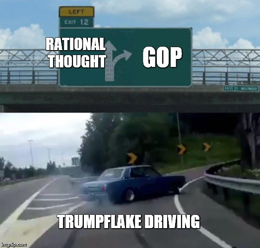 Left Exit 12 Off Ramp Meme | RATIONAL THOUGHT GOP TRUMPFLAKE DRIVING | image tagged in memes,left exit 12 off ramp | made w/ Imgflip meme maker