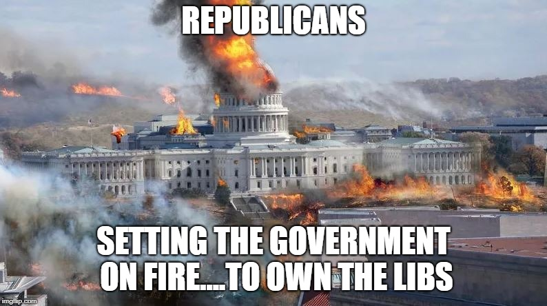 REPUBLICANS SETTING THE GOVERNMENT ON FIRE....TO OWN THE LIBS | image tagged in republicans | made w/ Imgflip meme maker