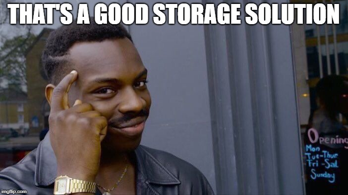 Roll Safe Think About It Meme | THAT'S A GOOD STORAGE SOLUTION | image tagged in memes,roll safe think about it | made w/ Imgflip meme maker