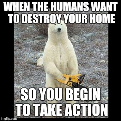 Chainsaw Bear | WHEN THE HUMANS WANT TO DESTROY YOUR HOME SO YOU BEGIN TO TAKE ACTION | image tagged in memes,chainsaw bear | made w/ Imgflip meme maker