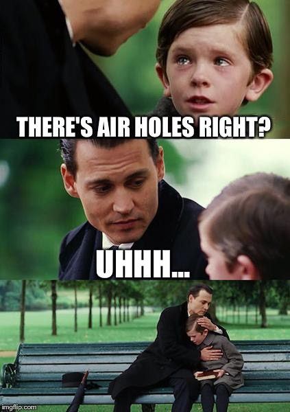 Finding Neverland Meme | THERE'S AIR HOLES RIGHT? UHHH... | image tagged in memes,finding neverland | made w/ Imgflip meme maker