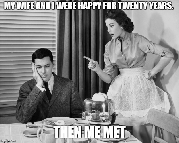 MY WIFE AND I WERE HAPPY FOR TWENTY YEARS. THEN ME MET | image tagged in nag marrage | made w/ Imgflip meme maker