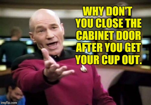 Pet peeve. | WHY DON'T YOU CLOSE THE CABINET DOOR AFTER YOU GET YOUR CUP OUT. | image tagged in memes,picard wtf | made w/ Imgflip meme maker