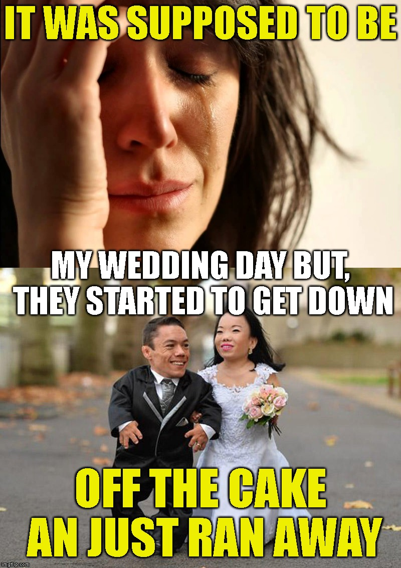 The Runaway Bride... And Groom | IT WAS SUPPOSED TO BE OFF THE CAKE AN JUST RAN AWAY MY WEDDING DAY BUT, THEY STARTED TO GET DOWN | image tagged in first world problems,wedding,midgets,marriage,love,bride | made w/ Imgflip meme maker