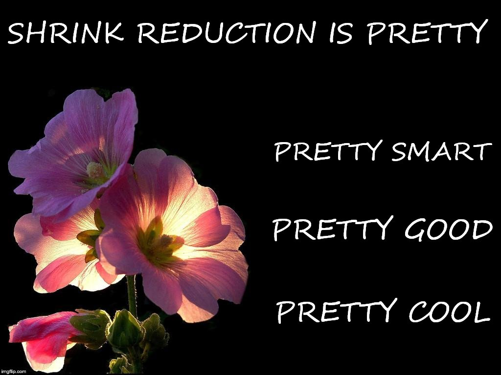 SHRINK REDUCTION IS PRETTY PRETTY SMART PRETTY GOOD PRETTY COOL | image tagged in pink flowers black background | made w/ Imgflip meme maker