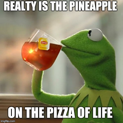 But Thats None Of My Business Meme | REALTY IS THE PINEAPPLE ON THE PIZZA OF LIFE | image tagged in memes,but thats none of my business,kermit the frog,pizza,pineapple pizza,life lessons | made w/ Imgflip meme maker