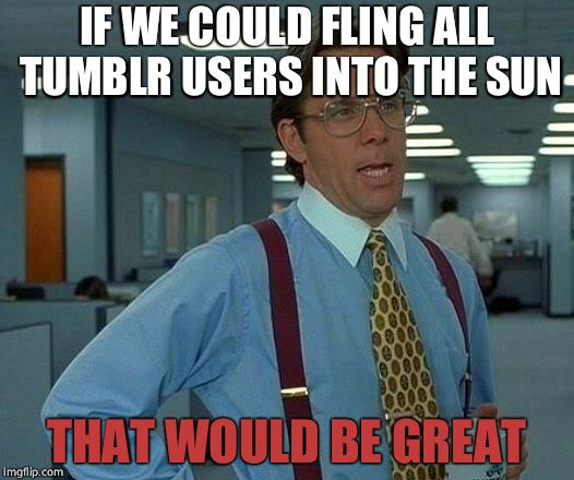 That Would Be Great Meme | IF WE COULD FLING ALL TUMBLR USERS INTO THE SUN THAT WOULD BE GREAT | image tagged in memes,that would be great | made w/ Imgflip meme maker