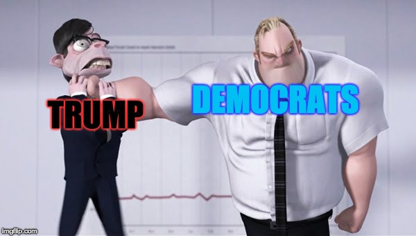 Democrats and Trump | TRUMP DEMOCRATS | image tagged in triggered mr incredible,democrats,trump,memes | made w/ Imgflip meme maker