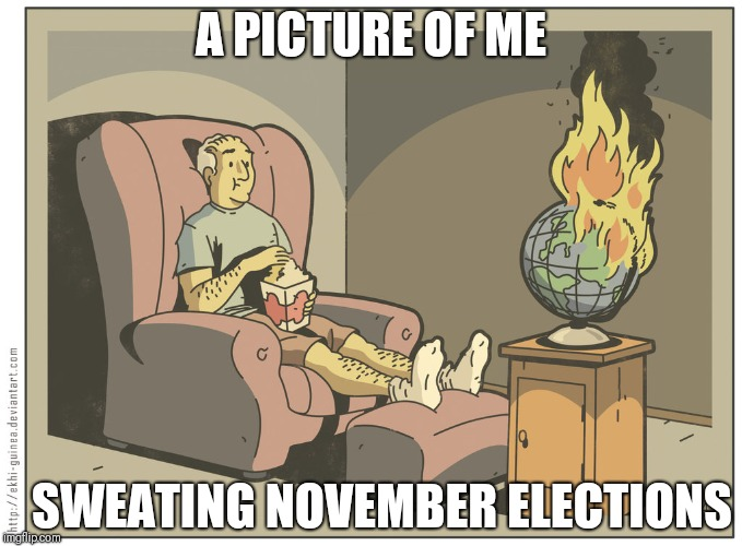 Carefree | A PICTURE OF ME SWEATING NOVEMBER ELECTIONS | image tagged in veterans be like,world,fire,carefree | made w/ Imgflip meme maker