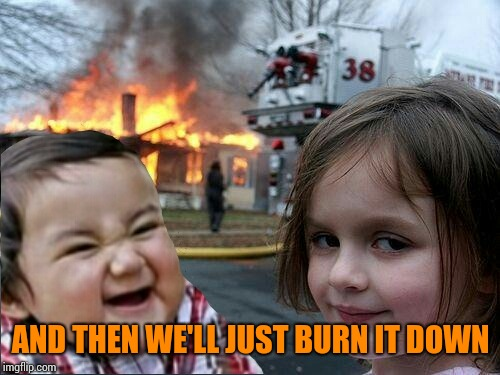 evil toddler and fire girl | AND THEN WE'LL JUST BURN IT DOWN | image tagged in evil toddler and fire girl | made w/ Imgflip meme maker