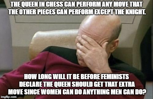 Somebody needs to keep the feminists in check. | THE QUEEN IN CHESS CAN PERFORM ANY MOVE THAT THE OTHER PIECES CAN PERFORM EXCEPT THE KNIGHT. HOW LONG WILL IT BE BEFORE FEMINISTS DECLARE TH | image tagged in memes,captain picard facepalm,chess | made w/ Imgflip meme maker