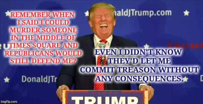 Treasonous Trump Supporters Standards. | REMEMBER WHEN I SAID I COULD MURDER SOMEONE IN THE MIDDLE OF TIMES SQUARE AND REPUBLICANS WOULD STILL DEFEND ME? EVEN I DIDN'T KNOW THEY'D L | image tagged in treason,donald trump the clown,donald trump is an idiot,meme,traitor,traitors | made w/ Imgflip meme maker