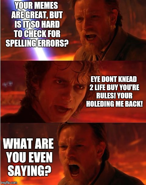 Dictionary.com is there for you! | YOUR MEMES ARE GREAT, BUT IS IT SO HARD TO CHECK FOR SPELLING ERRORS? WHAT ARE YOU EVEN SAYING? EYE DONT KNEAD 2 LIFE BUY YOU'RE RULES! YOUR | image tagged in lost anakin,spelling error,grammar,star wars,bad grammar and spelling memes,memes | made w/ Imgflip meme maker