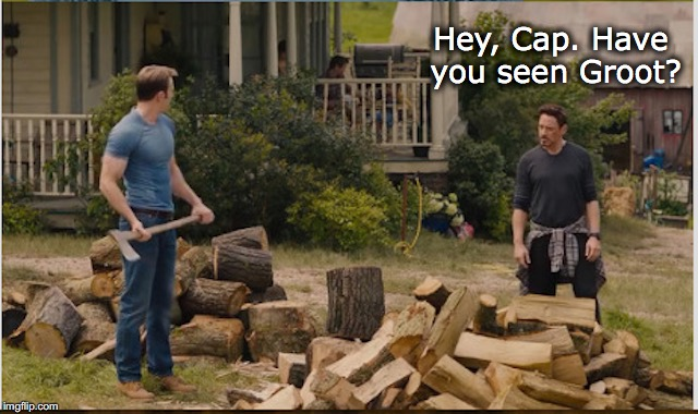 Hey, Cap. Have you seen Groot? | image tagged in marvel,captain america,iron man,groot | made w/ Imgflip meme maker