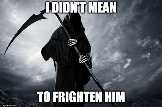 Death | I DIDN'T MEAN TO FRIGHTEN HIM | image tagged in death | made w/ Imgflip meme maker