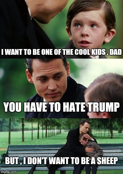 Finding Neverland Meme | I WANT TO BE ONE OF THE COOL KIDS , DAD YOU HAVE TO HATE TRUMP BUT , I DON'T WANT TO BE A SHEEP | image tagged in memes,finding neverland | made w/ Imgflip meme maker