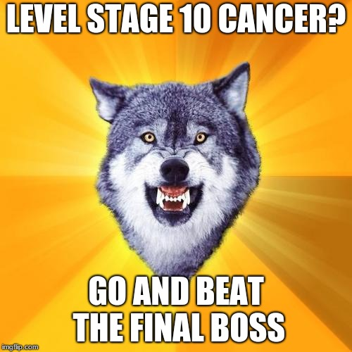 Courage Wolf | LEVEL STAGE 10 CANCER? GO AND BEAT THE FINAL BOSS | image tagged in memes,courage wolf | made w/ Imgflip meme maker