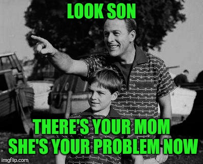 Father and son | LOOK SON THERE'S YOUR MOM SHE'S YOUR PROBLEM NOW | image tagged in father and son | made w/ Imgflip meme maker