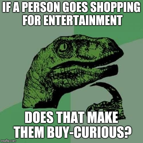 Asking for a friend | IF A PERSON GOES SHOPPING FOR ENTERTAINMENT DOES THAT MAKE THEM BUY-CURIOUS? | image tagged in memes,philosoraptor | made w/ Imgflip meme maker