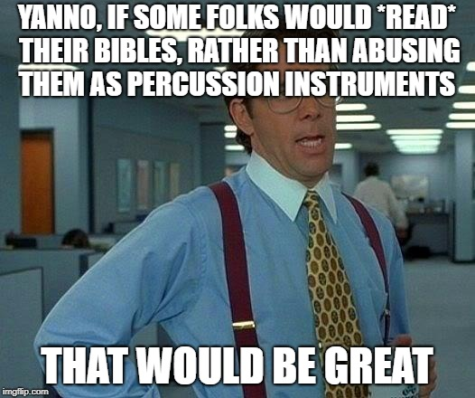 That Would Be Great Meme | YANNO, IF SOME FOLKS WOULD *READ* THEIR BIBLES, RATHER THAN ABUSING THEM AS PERCUSSION INSTRUMENTS THAT WOULD BE GREAT | image tagged in memes,that would be great | made w/ Imgflip meme maker