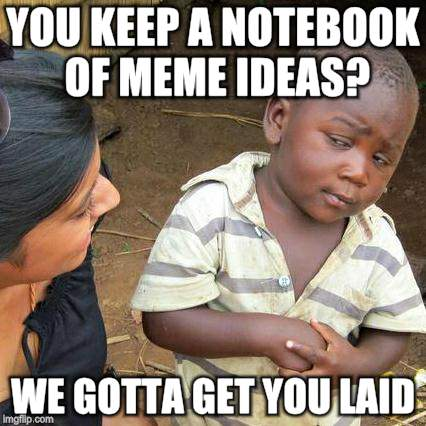 Third World Skeptical Kid Meme | YOU KEEP A NOTEBOOK OF MEME IDEAS? WE GOTTA GET YOU LAID | image tagged in memes,third world skeptical kid | made w/ Imgflip meme maker