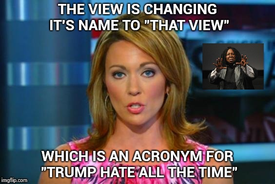 "An hour of Trump derangement syndrome every day | THE VIEW IS CHANGING IT'S NAME TO ""THAT VIEW"" WHICH IS AN ACRONYM FOR ""TRUMP HATE ALL THE TIME"" 