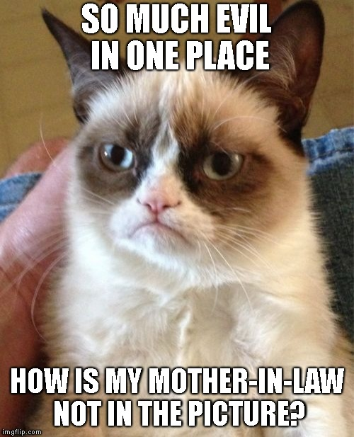 Grumpy Cat Meme | SO MUCH EVIL IN ONE PLACE HOW IS MY MOTHER-IN-LAW NOT IN THE PICTURE? | image tagged in memes,grumpy cat | made w/ Imgflip meme maker