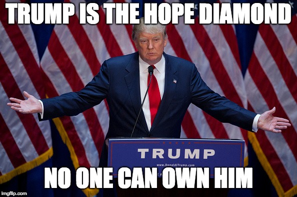 Donald Trump | TRUMP IS THE HOPE DIAMOND NO ONE CAN OWN HIM | image tagged in donald trump | made w/ Imgflip meme maker