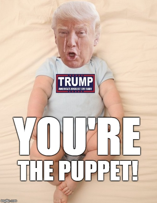 You're The Puppet | YOU'RE THE PUPPET! | image tagged in crying trump baby,putin's puppet,russia,trump | made w/ Imgflip meme maker