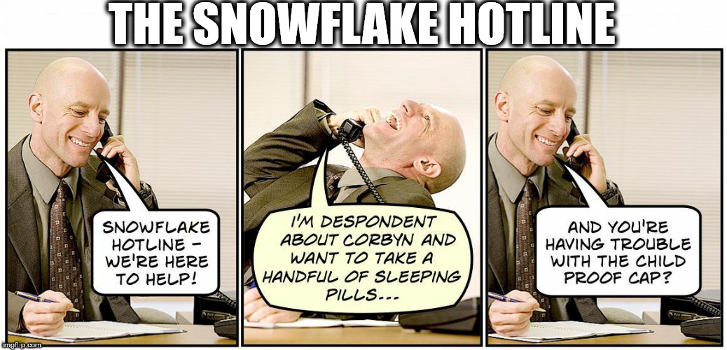 The Snowflake Hotline | THE SNOWFLAKE HOTLINE | image tagged in corbyn eww,party of hate,communist socialist,mcdonnell abbott,funny,momentum students | made w/ Imgflip meme maker