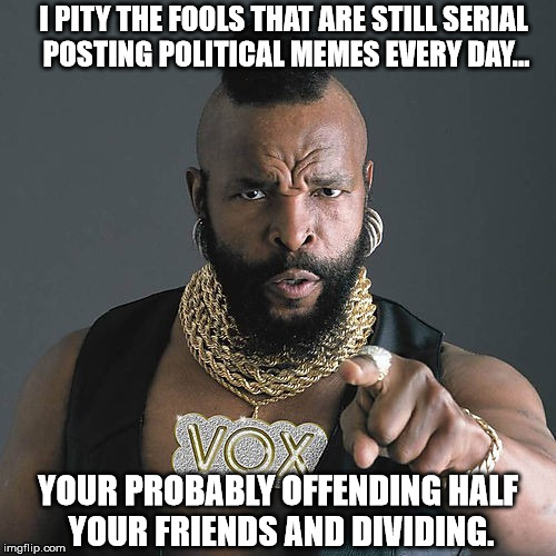 Mr T Pity The Fool | I PITY THE FOOLS THAT ARE STILL SERIAL POSTING POLITICAL MEMES EVERY DAY... YOUR PROBABLY OFFENDING HALF YOUR FRIENDS AND DIVIDING. | image tagged in memes,mr t pity the fool | made w/ Imgflip meme maker