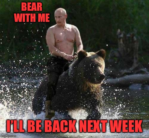 Miss me miss me now ya gotta kiss me! I'll catch up in a couple days on notifications and upvote y'alls memes too | BEAR WITH ME I'LL BE BACK NEXT WEEK | image tagged in putin thats cute | made w/ Imgflip meme maker