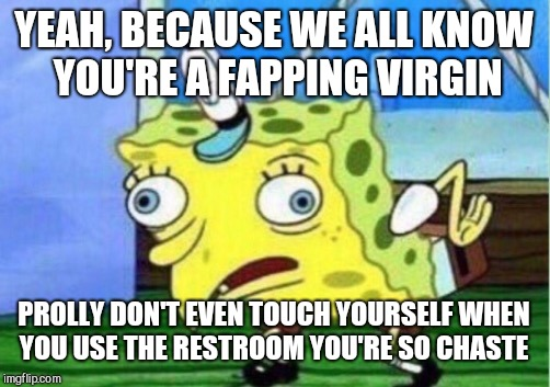 Mocking Spongebob Meme | YEAH, BECAUSE WE ALL KNOW YOU'RE A FAPPING VIRGIN PROLLY DON'T EVEN TOUCH YOURSELF WHEN YOU USE THE RESTROOM YOU'RE SO CHASTE | image tagged in memes,mocking spongebob | made w/ Imgflip meme maker