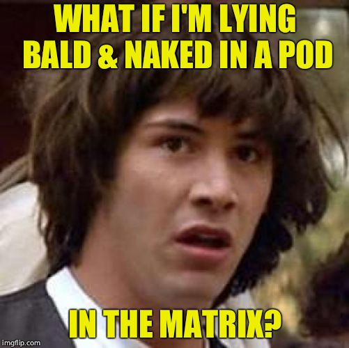 Conspiracy Keanu | WHAT IF I'M LYING BALD & NAKED IN A POD IN THE MATRIX? | image tagged in memes,conspiracy keanu,the matrix | made w/ Imgflip meme maker