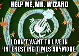 HELP ME, MR. WIZARD I DON'T WANT TO LIVE IN INTERESTING TIMES ANYMORE. | image tagged in david steele | made w/ Imgflip meme maker