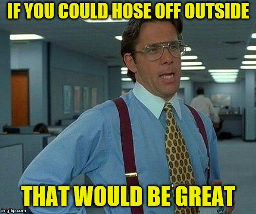 That Would Be Great Meme | IF YOU COULD HOSE OFF OUTSIDE THAT WOULD BE GREAT | image tagged in memes,that would be great | made w/ Imgflip meme maker