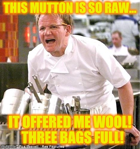 Yes sir, yes sir... | THIS MUTTON IS SO RAW... IT OFFERED ME WOOL!  THREE BAGS FULL! | image tagged in memes,chef gordon ramsay | made w/ Imgflip meme maker