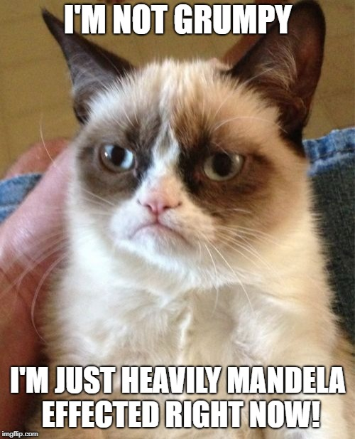 Mandela Effected Grumpy Cat | I'M NOT GRUMPY I'M JUST HEAVILY MANDELA EFFECTED RIGHT NOW! | image tagged in memes,grumpy cat,mandela effect,alternate realities,memories,funny | made w/ Imgflip meme maker