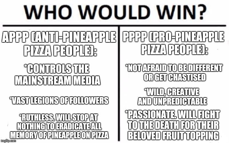APPP vs PPPP | APPP (ANTI-PINEAPPLE PIZZA PEOPLE): PPPP (PRO-PINEAPPLE PIZZA PEOPLE): *CONTROLS THE MAINSTREAM MEDIA *NOT AFRAID TO BE DIFFERENT OR GET CHA | image tagged in memes,who would win,pineapple pizza,controversial,world war 3 | made w/ Imgflip meme maker