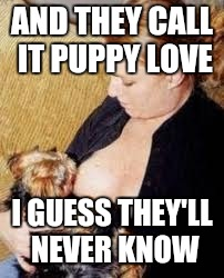 AND THEY CALL IT PUPPY LOVE I GUESS THEY'LL NEVER KNOW | made w/ Imgflip meme maker