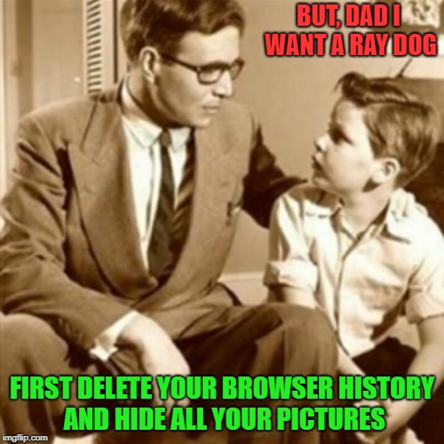 Father and Son | BUT, DAD I WANT A RAY DOG FIRST DELETE YOUR BROWSER HISTORY AND HIDE ALL YOUR PICTURES | image tagged in father and son | made w/ Imgflip meme maker
