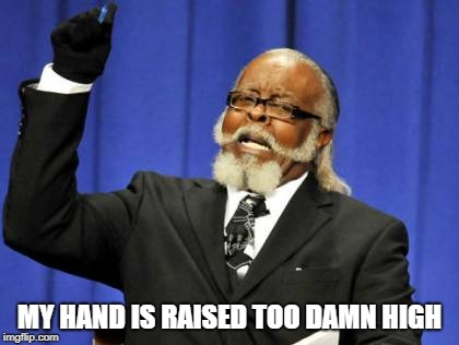 Too Damn High Meme | MY HAND IS RAISED TOO DAMN HIGH | image tagged in memes,too damn high | made w/ Imgflip meme maker