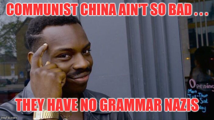 Roll Safe Think About It Meme | COMMUNIST CHINA AIN'T SO BAD . . . THEY HAVE NO GRAMMAR NAZIS | image tagged in memes,roll safe think about it | made w/ Imgflip meme maker