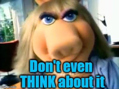 Mad Miss Piggy | Don't even THINK about it | image tagged in mad miss piggy | made w/ Imgflip meme maker