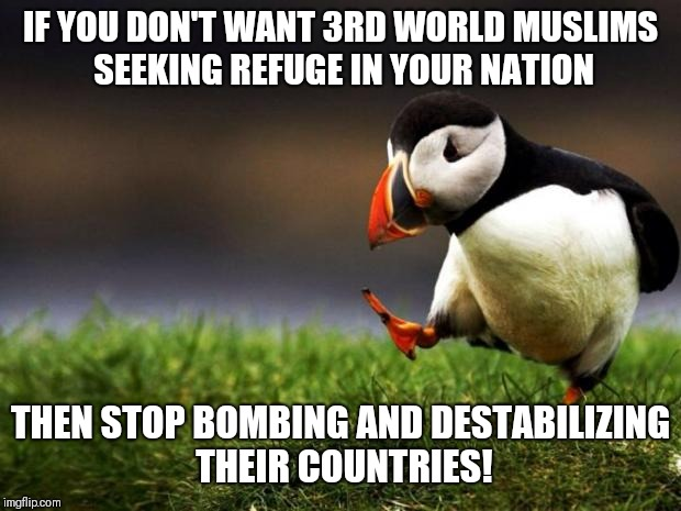 Unpopular Opinion Puffin Meme | IF YOU DON'T WANT 3RD WORLD MUSLIMS SEEKING REFUGE IN YOUR NATION THEN STOP BOMBING AND DESTABILIZING THEIR COUNTRIES! | image tagged in memes,unpopular opinion puffin | made w/ Imgflip meme maker