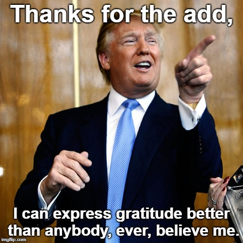 Donal Trump Birthday | Thanks for the add, I can express gratitude better than anybody, ever, believe me. | image tagged in donal trump birthday | made w/ Imgflip meme maker