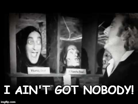 I Ain't Got Nobody! | I AIN'T GOT NOBODY! | image tagged in young frankenstein | made w/ Imgflip meme maker