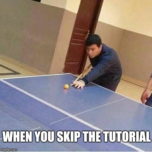 No, no, no. Step two said use the tennis racket to score a two-point conversion shot on the other team's hoop. | WHEN YOU SKIP THE TUTORIAL | image tagged in pool,ping pong,memes,ilikepie314159265358979 | made w/ Imgflip meme maker